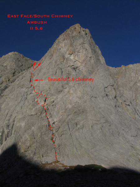 An overview photo of the general route of the East Chimney/South Face of Ambush Peak