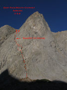 Rock Climbing Photo: An overview photo of the general route of the East...