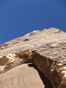 Rock Climbing Photo: John near the thin P2 crux