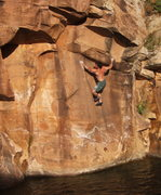 Rock Climbing Photo: The hard part of Dirty Dancing - sticking the aret...