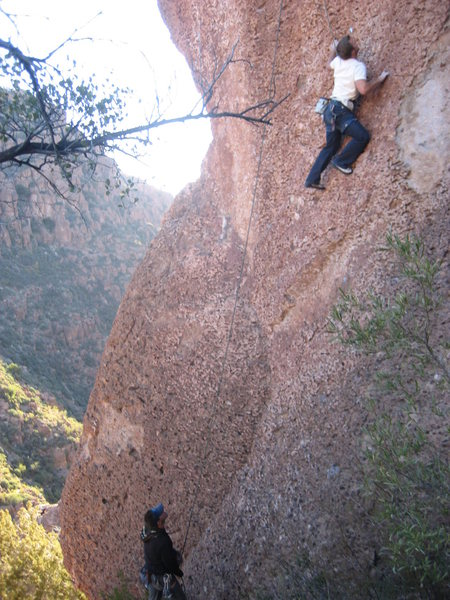 Matt starting the overhanging bit.