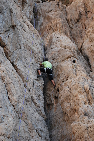 This is Neal, a beginner climber just below what he said was the hardest area on this climb.