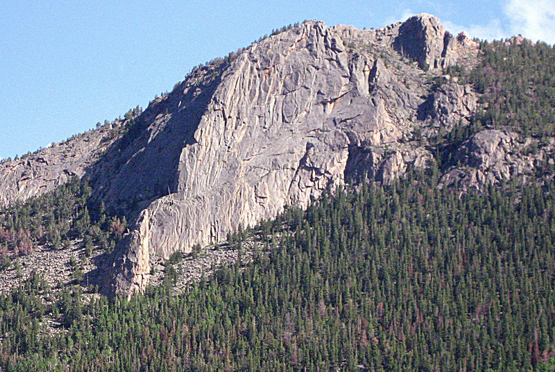 Deer Mt. viewed from the NW on Fall River Valley Rd. Nun Buttress is on the left side of the arete. Nun Pillar is in front of the arete.