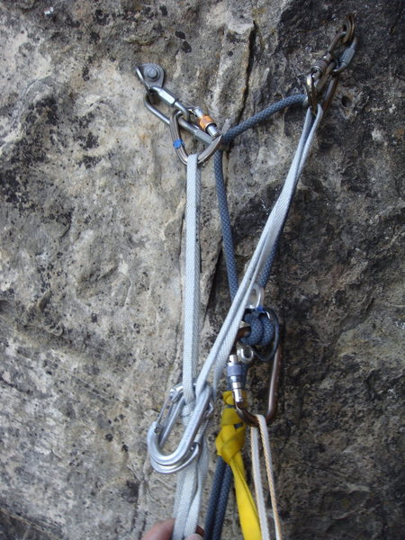 Rock Climbing Photo: Belay at end of pitch 1.