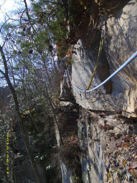 Rock Climbing Photo: Pitch 2 traverse on Nevermore, notice the jungle f...