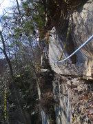 Rock Climbing Photo: Pitch 2 traverse on Nevermore, notice the jungle f...