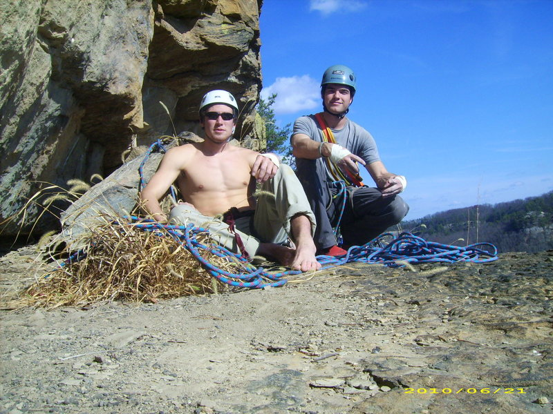 Belay ledge after pitch 2.  It is an amazing view from this ledge.  There are massive chain anchors for belaying.