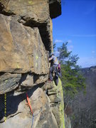 Rock Climbing Photo: Approaching the bolted face on Nevermore on pitch ...