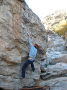 Rock Climbing Photo: Hardest move is moving off of bad crimp to topout.