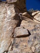 Rock Climbing Photo: A superb lieback crack at sun spots. Gosh the uppe...