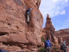 Rock Climbing Photo: Ben starting pitch 1 with the bride in the backgro...