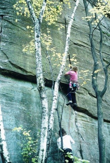 """Found on Supertopo forums with caption """"Prunes leading the 1st ascent of yet another obscure 5.11 crack on a obscure crag in Wisconsin""""<br> <br> Anyone know where or what this is?"""