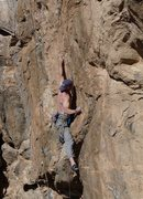 Rock Climbing Photo: First crux of Storming. Take THAT, dwarves !  Line...