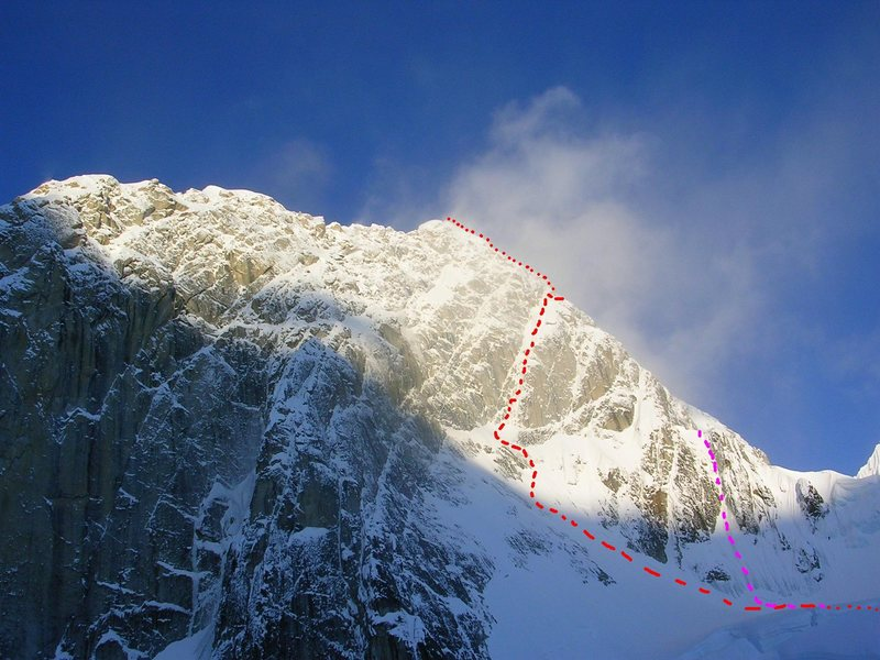 Huntington's West Face<br> <br> Red - West Face Couloir<br> Purple - Harvard Rt (direct ice start)