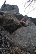 Rock Climbing Photo: LILY UNDER THE CRUX ROOF ON bOAR wAR...