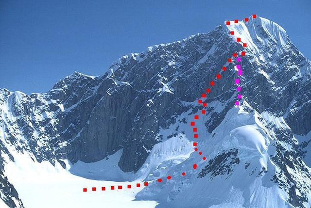 West Face Couloir, Mount Huntington<br> Photo by MP contributor George Bell<br> <br> Red - West Face Couloir<br> Purple - Harvard Route
