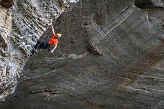 Rock Climbing Photo: Mark on Kaleidoscope, with the Sharma project in t...