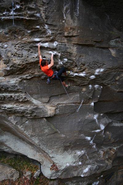 "Rock Climbing Photo: Mark finishing the ""slabby"" opening move..."