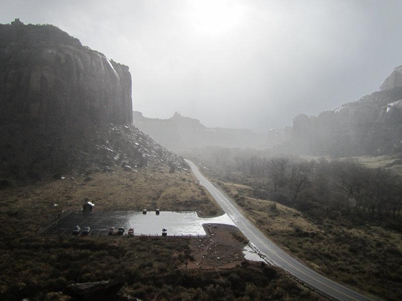 Rock Climbing Photo: New parking lot in the rain