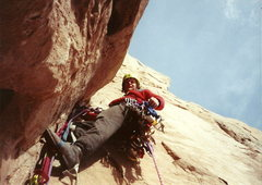 Rock Climbing Photo: Joel leading the 2nd pitch, a nice dihedral~crack ...