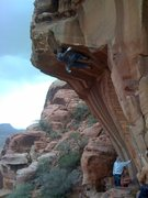 Rock Climbing Photo: crux on risk bro roof 11.a
