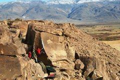 Rock Climbing Photo: Climber starting out on Atari, V6