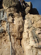 Rock Climbing Photo: From the anchor bolts at the top, setting up a top...