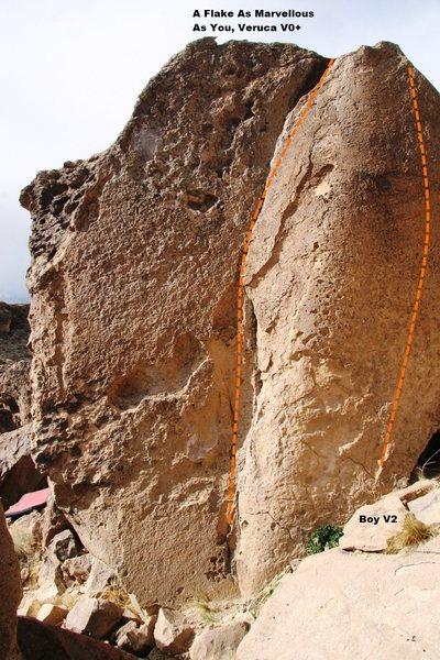 Rock Climbing Photo: Marvelous Flake Boulder South Face Topo