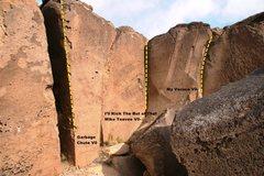 Rock Climbing Photo: Cracks on the Rim Left Side Right Topo