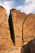 Rock Climbing Photo: Cracks on the Rim Left Center Topo