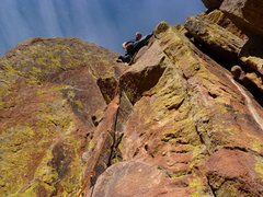 Rock Climbing Photo: At what we found to be the second crux.  It eases ...