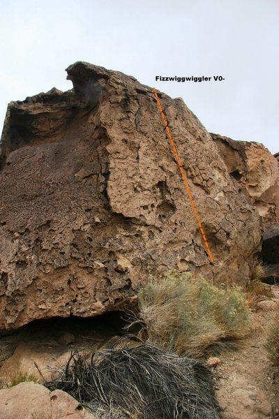 Rock Climbing Photo: Wiggler Boulder North Face Topo