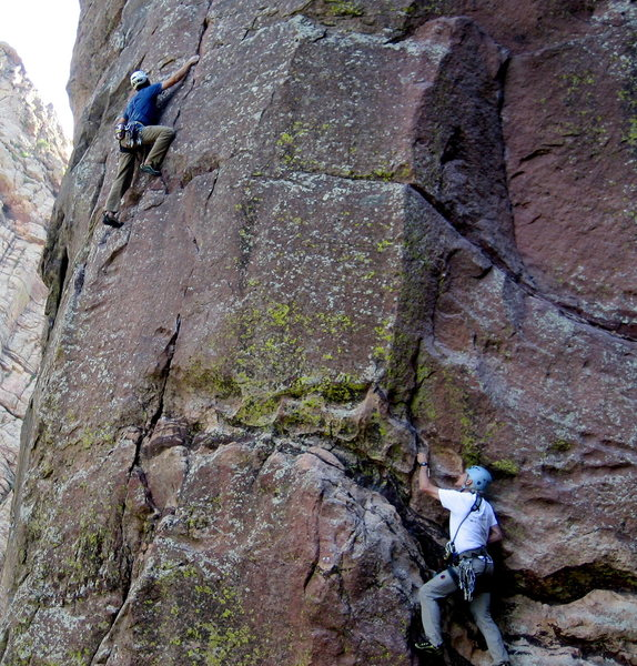 George Lowe on the Northwest Buttress and Stan Lanzano on Rain, Eldo
