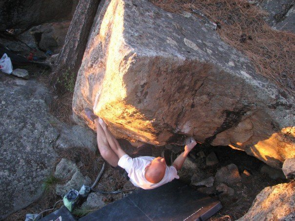 Rock Climbing Photo: Blake on the first move. Notice how low the start ...