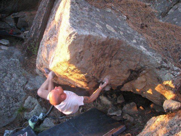 Rock Climbing Photo: Blake doing the crux left hand throw