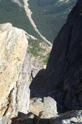 Rock Climbing Photo: Looking down at the hairpin turn from the traverse...