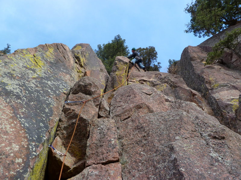 Topping out above the hand crack.