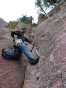 Rock Climbing Photo: Starting the climb.  Kashmir is the crack to the r...