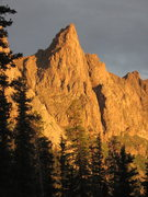 Rock Climbing Photo: West face from upper Noname drainage at sunset.  W...