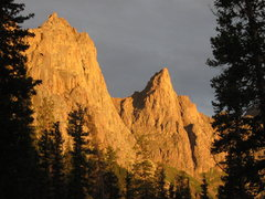Rock Climbing Photo: Knife Point (R) and unnamed point (L) at sunset.