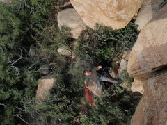 Rock Climbing Photo: looking down Nelson (V2) and Brushfire Fairytales ...