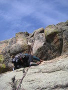 Rock Climbing Photo: Resting below the crux of P3.  Photo: Dave Rogers.