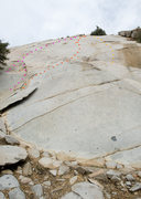 Rock Climbing Photo: Kernville Rock Topo Pink: Bugging Around (5.8 R) R...