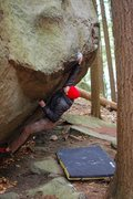 Rock Climbing Photo: Sam latching the good hold on Fido
