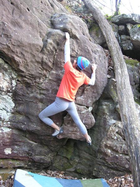 "Rock Climbing Photo: Sheila Rahim on ""The Flaming Carrot"" V0."