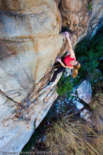 Rock Climbing Photo: Leah Sandvoss flashing Gecko Staircase (5.11), Ram...