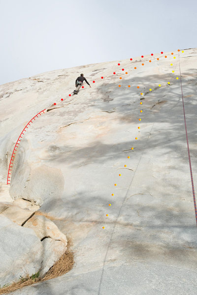 The orange dots mark the route for Just for Kicks (5.10c) at Kern Slabs.