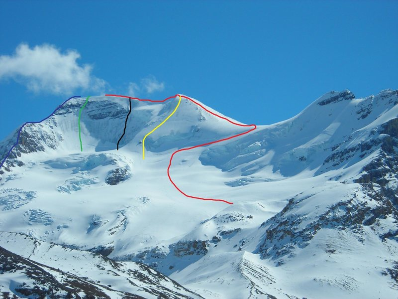 Mt. Athabasca<br> Red-North Glacier Route<br> Yellow-Silverhorn<br> Black-The Hourglass<br> Green-Regular North Face<br> Blue-North Ridge