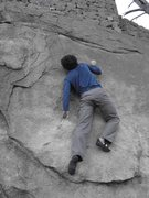 Rock Climbing Photo: Justin sticks it on the crux move