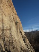Rock Climbing Photo: At the steep crux on the FA.